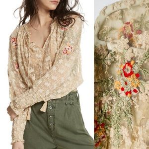FREE PEOPLE Jubilee Embroidery Lace Top
